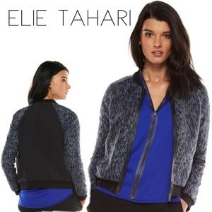 Elie Tahari Mackenzie Black Blue Tweed Bomber L